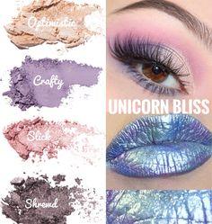 Unicorn Makeup. Younique. Unicorn Bliss. Custom Eyeshadow Palette. Pressed Shadows. Optimistic. Crafty. Slick. Shrewd. Unicorn. Unicorn Eyeshadow. Fall Trends.