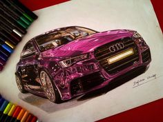 Drawings of Ultra Shiny Automobiles. By Dogukan Uludag. MORE: http://illusion.scene360.com/art/64952/drawings-of-ultra-shiny-automobiles/   #hyperrealist #hyperrealism #cars #automobile #drawings #illustrations #realistic #audi #peugeot #bmw #volkswagen #art #pink #purple #cardrawings