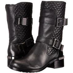 Vince Camuto Welton Women's Boots ($198) ❤ liked on Polyvore featuring shoes, boots, mid-calf boots, strap shoes, quilted boots, side zipper boots, vince camuto shoes and lined boots