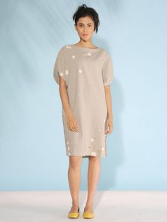 Charcoal Hand Block Printed Cotton Linen Dress