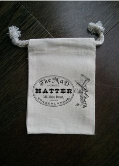 Alice In Wonderland Mad Hatter Muslin Party Favor Bag by foxybox, $2.50