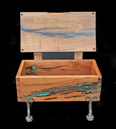 Artistic Wooden Boxes | Mesquite & turquoise box with hand made wooden hinges on hand-forged ...