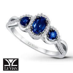 Jared - Natural Sapphire Ring 1/10 ct tw Diamonds 14K Vanilla Gold™ beautiful blue