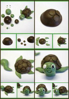 turtle tutorial fondant Something like this for C's cake.