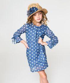 Loving this Blue & White Dot Dress - Toddler & Girls on #zulily! #zulilyfinds