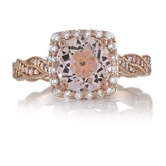 14kt Rose Gold 1.72ct Round Peach MORGANITE by PristineCustomRings, $1,190.00