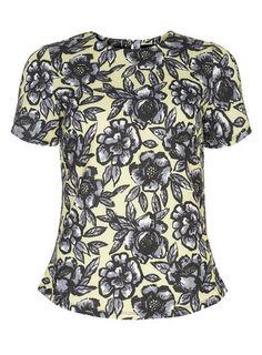 Lime Floral Textured Top #dorothyperkins