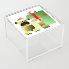 Santa Claus Pug Acrylic Box by edream Acrylic Box, Cute Gifts, Pugs, Toy Chest, Storage Chest, Santa, Furniture, Home Decor, Beautiful Gifts