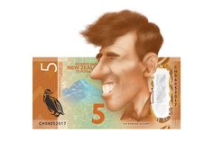 Sir Edmund Hillary caricature on the $5 New Zealand bank note. Illustration made in Photoshop