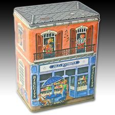 """HOUSE SHAPED BISCUIT TIN """"JULES DESTROOPER NV"""" BISCUITERIE CONTAINER BELGIUM"""