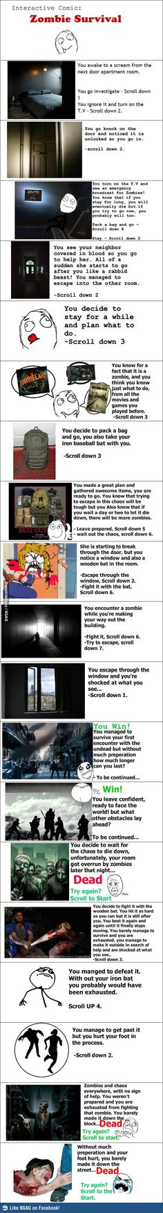 Interactive Zombie Survival Comic
