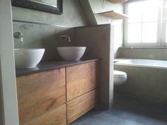 Badkamer vloer beton van Decocement