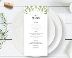 Eucalyptus Wedding Menu Template   Greenery Wedding Menu Card   Printable Wedding Menu   Editable Wedding Menu   Green Leaf Menu Template