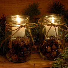 PineknobsAndCrickets on Etsy - Pine Cone Candles for your rustic table decor Christmas Candle Lights, Christmas Candle Decorations, Beautiful Christmas Decorations, Christmas Mason Jars, Diy Christmas Ornaments, Christmas Projects, Cabin Christmas, Rustic Christmas, Christmas Christmas