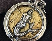 Mermaid Steampunk necklace handcrafted artisan jewelry The Victorian Magpie