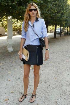Blue skirt and shirt, plus sandals