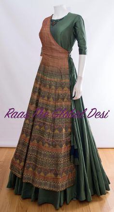 indian clothing ONLINE USA Silk brocade top with golden embroidery with matching bottom and dupatta Indian Gowns Dresses, Indian Fashion Dresses, Dress Indian Style, Indian Designer Outfits, Indian Outfits, Fashion Outfits, Indian Clothes, Long Gown Dress, Saree Dress