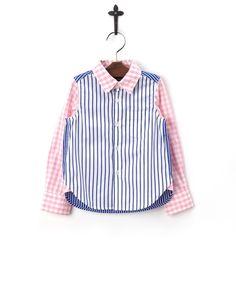 COMECHATTO BOY ブルー×ピンク ドッキングパターンシャツ