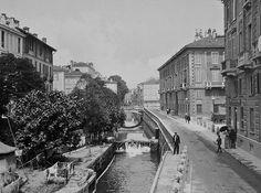 Milano: Il naviglio in via Senato, in una fotografia di inizio '900