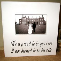 Wedding Gift Parents of Groom Picture Frame by WordsofWisdomNH, $38.00
