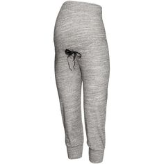 H&M MAMA 3/4-length trousers (135 NOK) ❤ liked on Polyvore featuring maternity, grey and maternity clothes