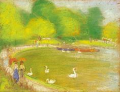 Rippl Boating on the Lake in the City Park - Category:Pastels by József Rippl-Rónai - Wikimedia Commons Girls Dress Up, Green Hats, Female Portrait, Park City, Main Street, Dusk, Hats For Women, Art Nouveau, Old Things