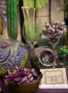 """Disney """"Descendants"""" or villain party food ideas - Candy ideas. READ IT: http://grown-up-disney-kid.tumblr.com/post/131463355709/how-to-have-a-wickedly-evil-descendants-party"""