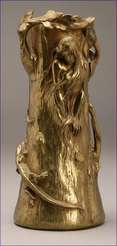 Art Nouveau ormolu vase with woman & salamander