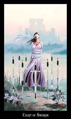 TWT-Eight of Swords- restriction and  feeling trapped and sad at the moment. Inability to decide; lack of conclusion; frustration.   Stop overreacting and feeling sorry; pull off that emotional blinder,  see a way out. Things are not as bad as they may appear. Happiness is possible, the sun is breaking through, and new opportunities can emerge. This card may also represent a Witch who is fearful of ritual or of their own initiation. . Fear has no place in the Craft.