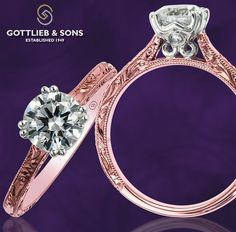 Just #SayYes to this #vintage inspired hand engraved rose and white gold solitaire engagement ring.