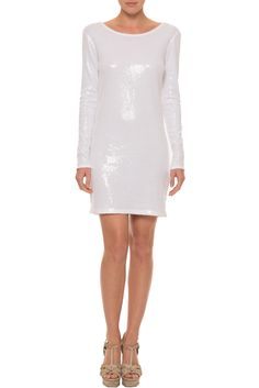 Haute Hippie Dress for Sale. Long Sleeve Embellished Mini Dress with Sequins for Sale.