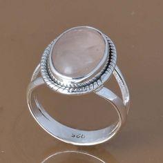 925 SOLID STERLING SILVER ROSE QUARTZ RING 4.84g DJR7509 SZ-6 #Handmade #Ring