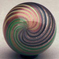 "Marbles: Hand Made Art Glass Waldglass aventurine lutz  1.14"" marble"