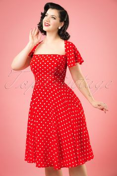 1950s Juliet Polka Dot Swing Dress in Red £61.04 AT vintagedancer.com