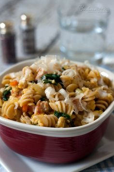 Curly Rotini pasta in a lower-in-fat, higher-in-nutrition creamy pasta sauce made with butternut squash sauce instead of cream.