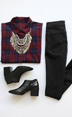 A great scarf instead of the bulky necklace (a little too western for me) and I'd wear patent leather loafers (a al Cole Haan).