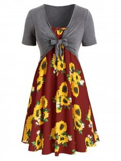 b0d036fae28 Plus Size Sunflower Print Knotted Two Piece Dress - MULTI-F - 5X