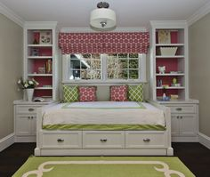 Fiorella Design - girl's rooms - greige, walls, green, rug, ivory, border, green, lattice, pillows, pink, pillows, matching, pink, custom, roman shade, white, hotel bedding, green stitching, white, built-in, daybed, drawers, white, built-ins, lined, pink, paper, pink and green girls room, pink and green girls bedroom, pink and green room ideas, pink and green girls bedroom ideas, green rug, apple green rug, kids room daybed, girls daybed, built in daybed,