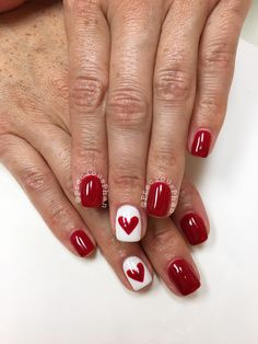 Red and white nails. Valentine's Day nails. Heart nails. #PreciousPhan