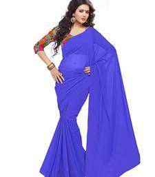 Buy Blue plain chiffon saree with blouse chiffon-saree online