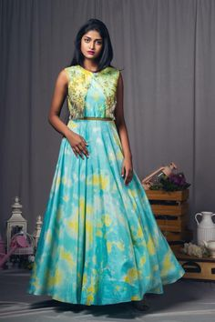 Turquoise and yellow fringes cape dress!They can customize the dress as per your requirement.For more detail 30 March 2018 Long Gown Dress, Cape Dress, Long Dresses, Long Frock, Frock Dress, Long Gowns, Formal Dresses, Frock For Teens, Long Gown Design