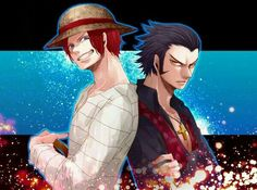 back-to-back black hair dracule mihawk hat multiple boys one piece red hair shanks shirt smile straw hat striped striped shirt yellow eyes younger - Image View - One Piece Ship, One Piece Ace, Anime One Piece, One Piece Fanart, One Piece Pictures, One Piece Images, Wattpad, Red Hair Shanks, Anime Manga