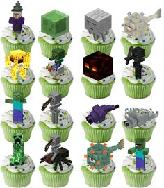 32 Minecraft Cupcakes Stand Up Toppers Wafer Card Mobs Birthday Party FUN