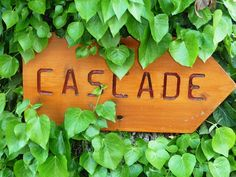 This wooden sign near the local waterfall is also the name of our villa - Villa La Cascade! La Cascade, Bamboo Cutting Board, Wooden Signs, The Locals, Waterfall, Villa, France, Wooden Plaques, Waterfalls