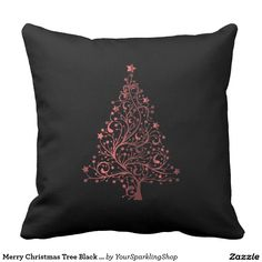 Merry Christmas Tree Black Metallic Red Look Throw Pillow