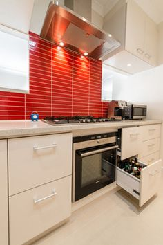 like the drawers for bottles of oil, seasoning & sauce --- --- --- Keyes St, Ashburton - contemporary - Kitchen - Melbourne - Bubbles Bathrooms
