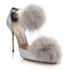 Jimmy Choo Dolly 100 Fox Fur & Glittered Textile Ankle-Strap Pumps ($995) ❤ liked on Polyvore featuring shoes, pumps, heels, apparel & accessories, silver, ankle strap pumps, pointy-toe pumps, glitter shoes, pointed-toe pumps and stiletto heel pumps