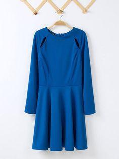 Navy Round Neck Hollow Blending Short Princess Dress : KissChic.com
