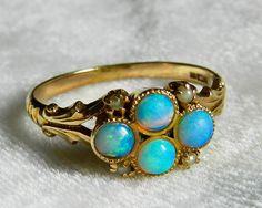 Opal Ring Australian Blue Opal Ring 1800s by LoveAlwaysGalicia