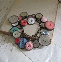 Shades of Pink and Blue Vintage Button  by ThatOldBlueHouse2